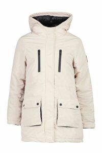 Womens Pocket Detail Technical Parka - white - 16, White