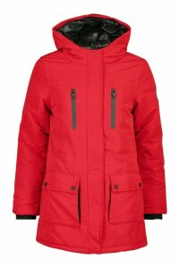 Womens Pocket Detail Technical Parka - red - 14, Red