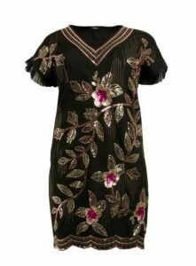 **Aarya Black Embellished Shift Dress, Black