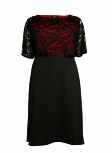 **Aarya Red Lace Dress, Red