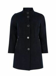 Navy Blue Funnel Coat, Navy