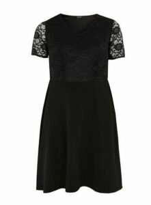 Black Lace Fit And Flare Dress, Black