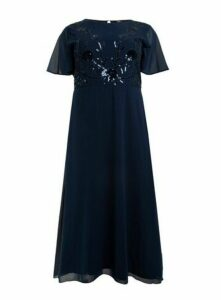 **Aarya Navy Blue Flute Sleeve Sequin Maxi Dress, Navy