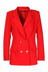 Womens Double Breasted Military Blazer - red - 12, Red
