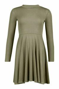 Womens Soft Knit High Neck Long Sleeve Skater Dress - green - 14, Green