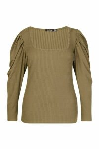 Womens Plus Puff Sleeve Square Neck Jumper - green - 22, Green