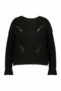 Womens Plus Cuff Detail Fisherman Knit Jumper - black - 20, Black