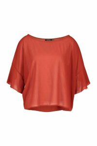 Womens Ruffle Sleeve Roxy Shell Top - orange - 14, Orange