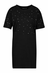 Womens Diamonte Oversized T-Shirt Dress - black - 18, Black