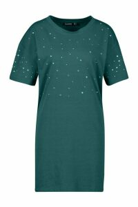 Womens Diamonte Oversized T-Shirt Dress - green - 18, Green