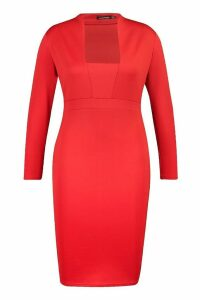 Womens Plus Plunge High Collar Midi Dress - red - 20, Red