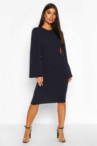 Womens Petite Cape Sleeve Midi Dress - navy - 14, Navy