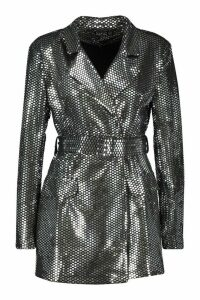 Womens Metallic Tailored Blazer Playsuit - grey - 16, Grey