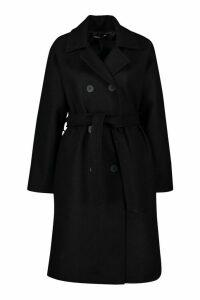 Womens Petite Double Breasted Belted Wool Look Coat - black - 14, Black