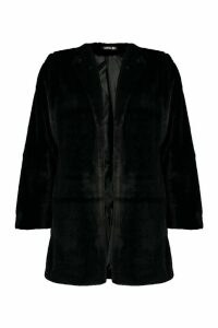 Womens Collarless Faux Fur Coat - black - 14, Black