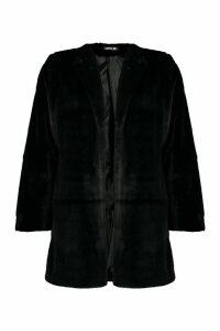 Womens Collarless Faux Fur Coat - black - 16, Black