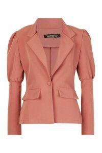 Womens Puff Sleeve Tailored Blazer - pink - 8, Pink
