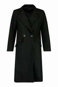 Womens Petite Oversized Wool Look Double Breasted Coat - black - 12, Black