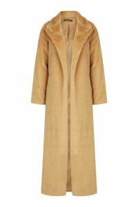 Womens Longline Faux Fur Coat - beige - 10, Beige