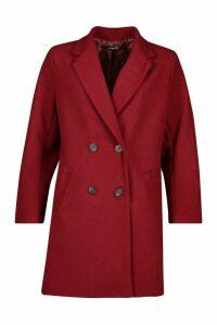 Oversized Boyfriend Wool Look Coat - red - 14, Red