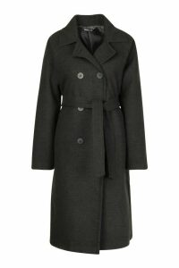 Double Breasted Belted Wool Look Coat - grey - 14, Grey