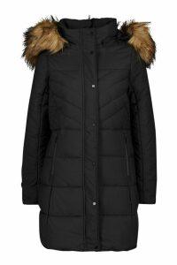 Womens Faux Fur Trim Quilted Detail Parka Coat - black - 14, Black