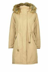 Womens Faux Fur Trim Synch Waist Parka Coat - beige - 16, Beige