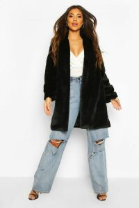 Womens Luxe Faux Fur Coat - black - 14, Black