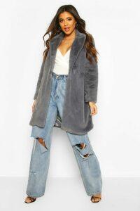 Womens Luxe Faux Fur Coat - grey - 14, Grey