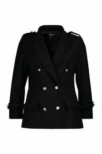 Womens Petite Double Breasted Wool Look Military Coat - black - 14, Black