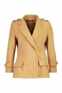 Womens Petite Double Breasted Wool Look Military Coat - beige - 10, Beige