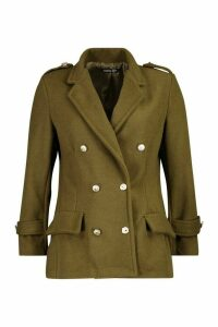 Womens Petite Double Breasted Wool Look Military Coat - green - 14, Green