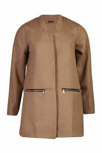 Womens Zip Pocket Wool Look Coat - beige - M, Beige