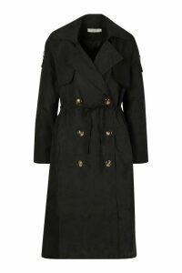 Womens Double Breasted Trench Coat - black - M, Black