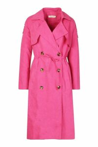 Womens Double Breasted Trench Coat - pink - M, Pink