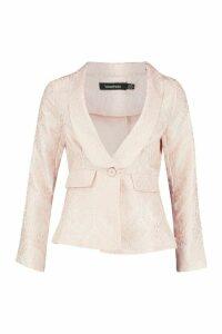 Womens Jacquard Blazer - Pink - 14, Pink