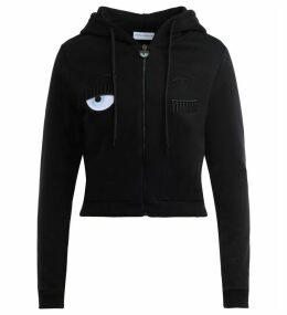 Chiara Ferragni Zip Sweatshirt In Black Cotton With Flirting Print.