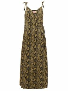 Solid & Striped - Snake-jacquard Jersey Wrap Dress - Womens - Black Print