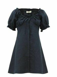 Casa Raki - Valentina Puffed Sleeve Linen Dress - Womens - Navy