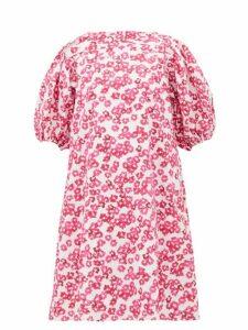 Merlette - Aster Floral-print Pleated Cotton-poplin Dress - Womens - Pink Print