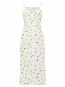 Emilia Wickstead - Philomena Animal-print Linen Midi Dress - Womens - Cream Print