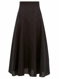 Emilia Wickstead - Volly Flared Linen Midi Skirt - Womens - Black