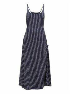 Solid & Striped - Side-slit Striped Jersey Dress - Womens - Navy Stripe