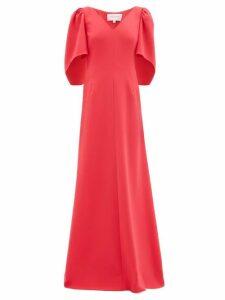 Carolina Herrera - Cape Sleeve Crepe Palazzo Maxi Dress - Womens - Pink