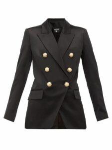 Balmain - Oversized Double Breasted Silk Blazer - Womens - Black
