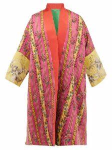 Rianna + Nina - Vintage Floral Jacquard Silk Robe Coat - Womens - Green Multi