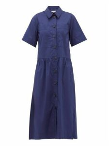 Sea - Clara Dropped Waist Cotton Blend Shirtdress - Womens - Blue