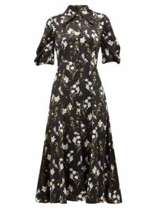 Erdem - Gisella Daffodil Print Silk Satin Dress - Womens - Black Print