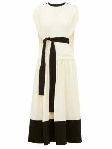 Proenza Schouler - Draped Cap Sleeve Crepe Dress - Womens - Cream