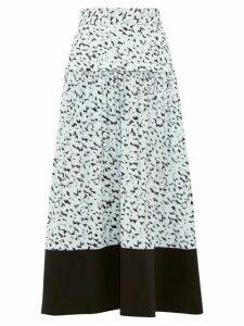 Proenza Schouler - Inky Leopard Print Crepe Midi Skirt - Womens - Black Multi